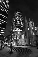 Leading lines (clairejmyhill) Tags: longexposure blackandwhite london night d750 30stmaryaxe gerkin 1424mm