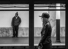 Waiting (John St John Photography) Tags: blackandwhite bw woman man station subway blackwhite platform streetphotography fultonstreet fultoncenter peopleofnewyork