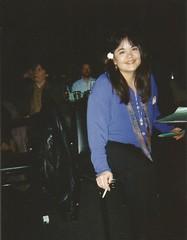 Mei Young at the Fine Line, Feb. 13, 1998 (STUDIOZ7) Tags: woman flower girl minnesota club radio asian dj cigarette minneapolis smoking nightclub twincities smoker mn 1990s 90s fineline discjockey voiceover ninties meiyoung kqrs voicetalent