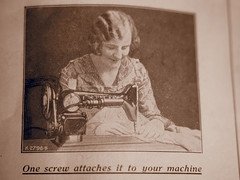 1931 Housewife sewing with Singer sewing machine (fstop186) Tags: 1931 back sewing picture machine front cover advert singer manual instruction