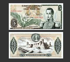 Colombia 5 Pesos Oro - 1980s (Shutter_Hand) Tags: hp colombia 5 five bogot pesos cordoba cinco scanjet 1980 cartagena currency billet moneda oro moeda banknote billete pera monnaie valuta whrung tin cdula        t  bankovka   pengeseddel  n8460  92927425 banktala elbancodelarepublica