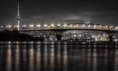 Night Lights (www.cornelia-schulz-photography.com) Tags: auckland north shore island nz new zealand lights monochrome bridge city night