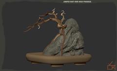 Juniper Root Over Rock Progress2 (cube.republic) Tags: zbrush zsphere juniper bonsai penjing secondlife cuberepublic gameart