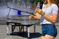 Public Piano (swong95765) Tags: fountain water piano woman icecream shorts female