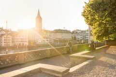 Early July Sunset - St. Peter - Zrich - Switzerland (Nonac_eos) Tags: luminositymask zrich photostroll zurich highdynamicrangeimaging sunset stpetersbasilica lensflare stpeter exposureblending altstadt nohdr grossmster svizzera ch