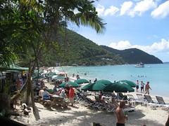 Green umbrellas on the beach - Cane Garden Bay - Tortola British Virgin Islands West Indies (WanderingPhotosPJB) Tags: westindies britishvirginislands bvi tortola canegarden canegardenbay bay sea beach caribbean umbrella green colour colourful