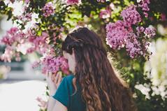 Les fleurs du mal (1) (kristinabychkova2) Tags: reflex art braid hairstyle longhair light lens 30mm beautiful bokeh sigma soft camera colors flower pink italy nikon girl hair