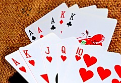 Royal Flush beats a Full House (donjuanmon) Tags: red black macro k diamonds hearts jack cards j king 10 royal queen kings fullhouse theme clubs flush straight q aces spades burlap royalflush macromondays donjuanmon