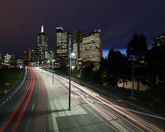 MELBOURNE LIGHT TRAILS (16th man) Tags: melbourne vic victoria australia melbourneskyline melbournecbd lighttrails canon eos eos5dmkiii