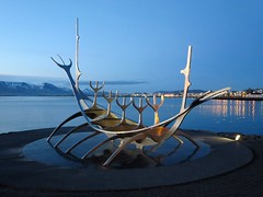 Solfar (Sun Voyager) sculpture, Viking ship, Reykjavik, Iceland (Travel writer at KristineKStevens.com) Tags: iceland viking sculpture reykjavik