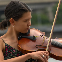 Violinist (swong95765) Tags: woman female girl violin violinist music musical instrument bow strings play young bokeh