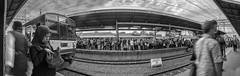 Commuters (erikjnainggolan) Tags: train railroad railway black white bw n wide ultra panorama panoramic olympus omd jakarta indonesia commuter commuters