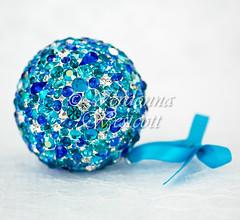 Caribbean Blues -close up- by Verdonna Westcott (Verdonna.com) Tags: ball mosaic sphere nest orb table jewel encrusted swarovski coastal blues aqua blue rhinestones ornament hanging round
