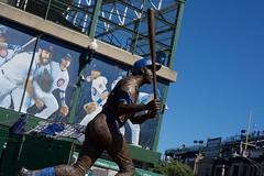 Statue Outside Wrigley (JenGallardo) Tags: addison baseball chicago chicagocubs cubs elevatedtrain illinois ltrain statue trainstation wrigley wrigleyfield