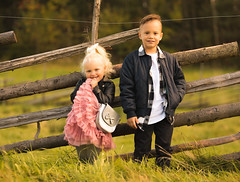 Siblings (LauriArpiainen) Tags: siblings photoshoot canon 7dmkii 7d 70200 country family autumn happy finland maple leafs princess prince dog