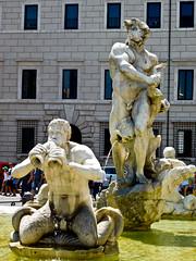 Bernini's Moor - Fontana del Moro - Piazza Navona - Rome - July 2016 a (litlesam1) Tags: italy rome soloromejuly2016 july2016 fountains