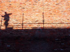 roofer (Berny Mc) Tags: shadows sunlight york building silhouettes scaffold brick walls streetphotography