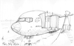 Paris, midi, en attendant l'avion (Croctoo) Tags: croctoo croquis croctoofr crayon aéroport avion