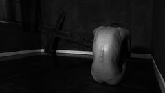 hunched (polo.d) Tags: hunched body drama creepy female silhouette cross room empty noir haunted horror pose weird