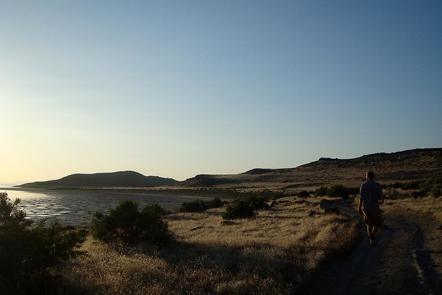 Evening search for Spiral Jetty