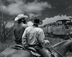 Train Robbers (Gunnshots) Tags: horses art cowboys boots hats masks danville outlaws saddles trainrobbers creativeedit