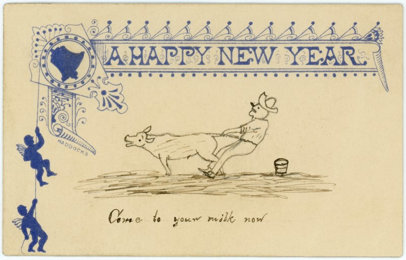 a happy new year alan mays tags old blue men bells vintage paper