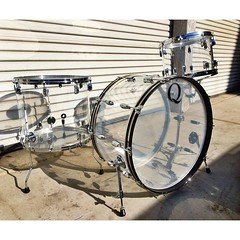 Clear cast acrylic 26, 14, 18. Can't wait to hear this set tonight with @six5riv beating the shit out of it at The Wiltern. #qdrumco #acrylic #drums #BLAST