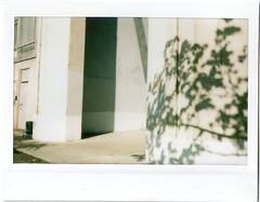 (dadadanner) Tags: street door light shadow urban sun sunlight building tree film monochrome architecture mono spring fuji russia geometry moscow wide may nopeople mini minimal instant fujifilm column everyday mundane instantcamera deserted treeshadow instax instantfilm peopleless