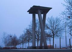 IX (ohank1951) Tags: sculpture holland netherlands misty fog nijmegen river sculptuur waal gelderland nimwegen waalkade ariberkulin berkulin