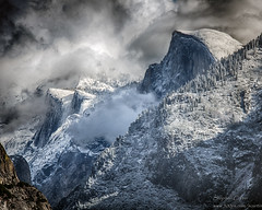 Half Dome (stephencurtin) Tags: winter snow storm cold clouds yosemite dome half snowing grind vally thechallengefactory thepinnaclehof tphoffebruary2015