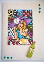 All-purpose handmade card 40 (tengds) Tags: woman cake atc restaurant bottle wine card wineglass multicolored artcard papercraft handmadecard tengds allpurposecard
