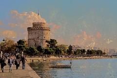 Thessaloniki ! (Christos Sevaslian) Tags: city sea people white tower port coast boat walk hellas greece macedonia thessaloniki timeless