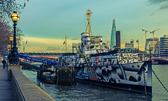 HMS President (Painted as a Dazzle Ship) River Thames (Cross Process Effect) (Pentax K5II & 18-55mm Zoom) (markdbaynham) Tags: city uk england urban london k pentax zoom capital mount gb metropolis 1855mm dslr k5 apsc k5ii