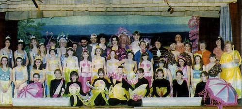 1997 Robinson Crusoe 01 (back x,x,x,x,x,x,x,x,Roy Ritchie,x,x,x,Richard Bullock, Katie Bullock, Kerry Morley, far right Margaret Fielding, middle third from R Gemma Corker)