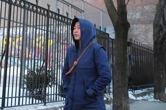 louche look (omoo) Tags: newyorkcity blue girl look fence asian eyes iron streetscene prettygirl greenwichvillage schoolyard bluecoat greenwichavenue dscn2072 bluehood louchelook prettygirlinblue