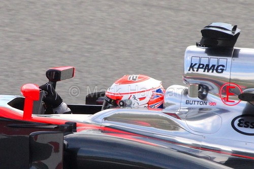 Jenson Button in his McLaren in Formula One Winter Testing 2015