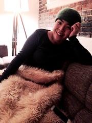Lucky Me (Damana) Tags: seattle woman usa green beautiful friend fluffy best couch lucky beanie bestie