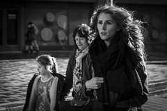 Stages of Womanhood (Leanne Boulton) Tags: life lighting street city uk light shadow portrait people urban blackandwhite bw woman white black detail eye texture monochrome beautiful beauty face female youth canon photography 50mm mono scotland living blackwhite women focus faces natural humanity bokeh outdoor expression glasgow candid young streetphotography scene human age shade 7d contact backlit tone facial womanhood bokehlicious candidstreetphotography