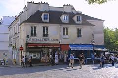 St Pierre de Montmartre (oxfordblues84) Tags: people paris france building shop architecture europe îledefrance montmartre tourists pedestrians souvenirshop touristshop stpierredemontmartre 18tharrondissement roadscholar roadscholartour roadscholarfieldtrip