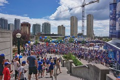 Blue Jays fans plaza before the game (beyondhue) Tags: toronto plaza skydome blue jays stadium fans uniform ontario baseball team beyondhue sunny saturday summer hat architecture building horizon stars