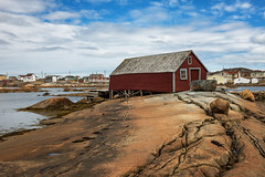 Joe Batt's Arm, Fogo Island Newfoundland (Explore - Best Position #10 - July 13, 2016) (Brian Krouskie) Tags: blue red sky canada rock clouds newfoundland island fishing harbour stage crack explore hut shack ochre fogo fissure joebattsarm nikon247028 nikond800