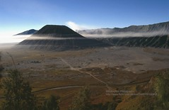 Gunung Bromo, sea of sand with inner volcano (blauepics) Tags: indonesien indonesia indonesian indonesische east java ostjava gunung bromo mount volcano vulkan meer sea sand mountain berg sonnenaufgang sunrise sun sonne light licht landscape landschaft 1991