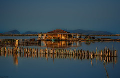 Fisherman's House (dipphotos) Tags: blue sunset sunlight water nikon dusk lagoon greece messolonghi dipphotos
