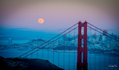 Moon and Golden Gate Bridge   (T.ye) Tags: golden gate bridge san francisco landscape landmark sunset moon city urban people blue pink   monochrome