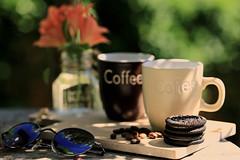 Precious moments (eleni m) Tags: coffee mugs gardentable outdoor garden dof sunglasses cookies coffeebeans servingboard flowers alstroemeria vase water hedge light shadow