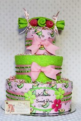 Sweet Peas In a Pod Baby Diaper Cake Shower Centerpiece Girls  (4) (Dianna's Diaper Cakes) Tags: baby diaper cakes shower centerpieces gifts boys girls neutral diannas decoration