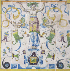 Woman holds up the ceiling - Renaissance imagery on faience tiles (Monceau) Tags: faence ceramic tiles imaginative creatures chteaudcouen musenationaldelarenaissance renaissance museum treasures