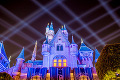Castle under the grid (brosephotoz) Tags: disneyland hdr night sleepingbeautycastle longexposure
