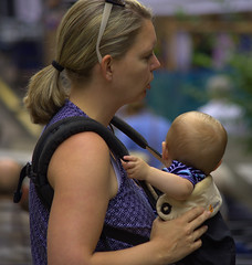 Mother & Baby (swong95765) Tags: baby mother bokeh blonde lady woman female maternal beauty pretty loving carry pouch carrying child infant