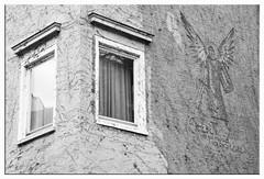 The angel on the wall - der Engel auf der Wand (Lala89_Photos) Tags: windows fenster wall wand engel angel architecture architektur blackandwhite schwarzweis